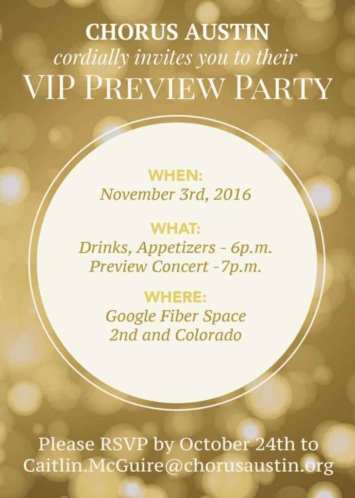 chorus austin VIP party