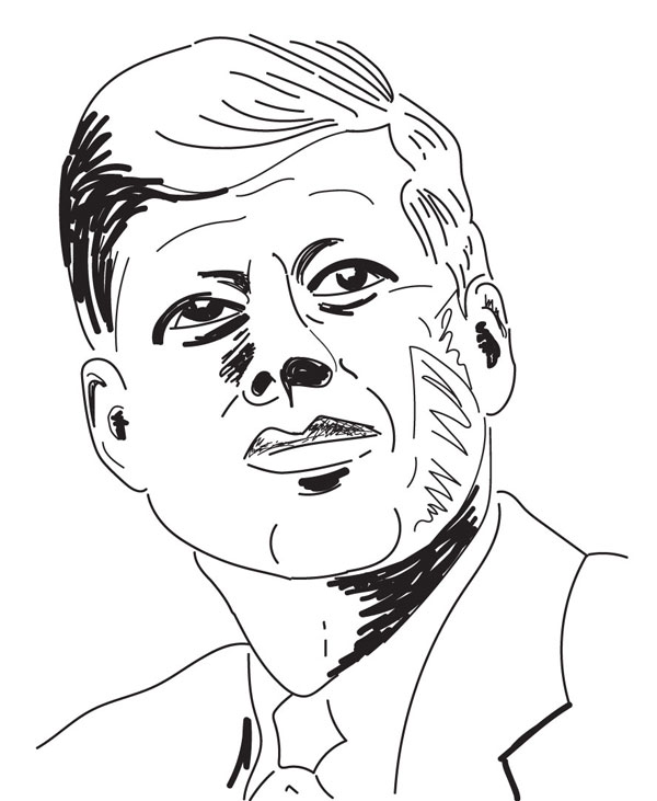 sketched digital portrait of JFK