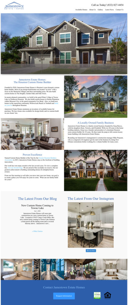 jamestown estate homes original website design
