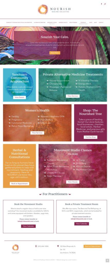 nourish home page